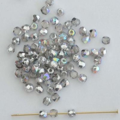 Fire Polished Silver 2 3 4 6 mm Crystal Silver Rainbow 00030-98530 Bead