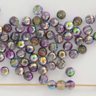 Druk Round Purple 3 4 6 mm Crystal Magic Purple 00030-95500 Czech Glass Bead