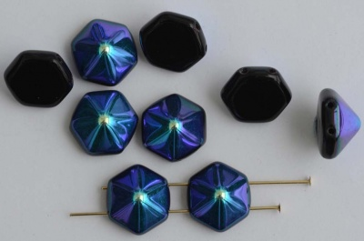 Pyramid Hex Black 12mm Jet Ab 23980-28701 Czech Glass Beads x 12