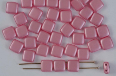 Tile 6mm Pink Alabaster Pastel Pink Pearl Coat 02010-25008 Czechmates Bead x 25