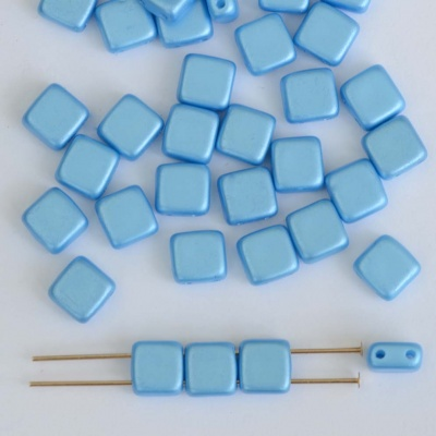 Square 2 Hole 6mm Blue Alabaster Pastel Turquoise 02010-25020 Tile Bead x 25