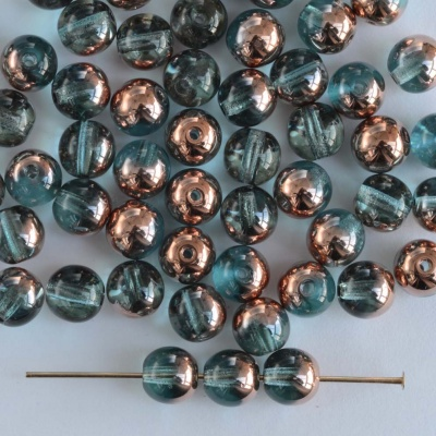 Druk Round Blue 6 mm Aqua Capri Apollo Gold 60010-27101 Czech Beads x 50