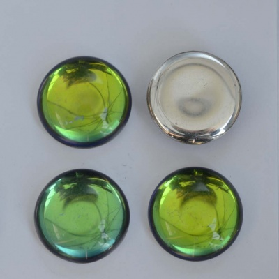 Cabochon Green Backlit Crystal Petroleum 18mm 25mm 00030-26601 Czech Glass