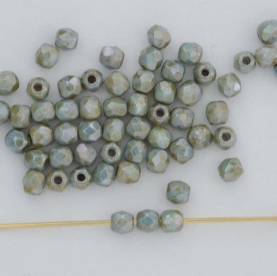 Fire Polished Green 3 4 mm Chalk Blue Green 03000-65431 Czech Bead