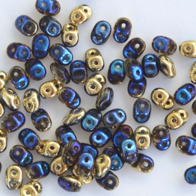 Superduo Blue Crystal California Blue Miniduo 00030-98548 Czech Beads x 10g