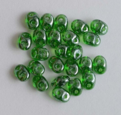 Superduo Green Chrysolite Tr Shimmer Miniduo 50050-14400 Czech Beads x 10g
