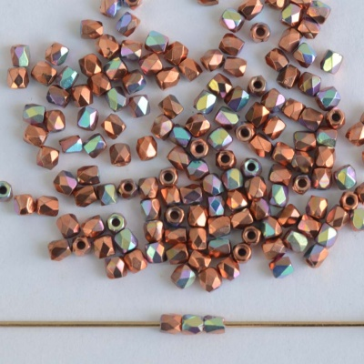 Fire Polished Copper 2 mm Copper Plated AB 00030-39000-28701 Czech Glass Bead