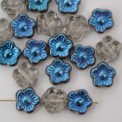 Flower Hd Blue  10 mm Blue Crstal Blue Azuro 00030-22010 Czech Glass Bead x 25
