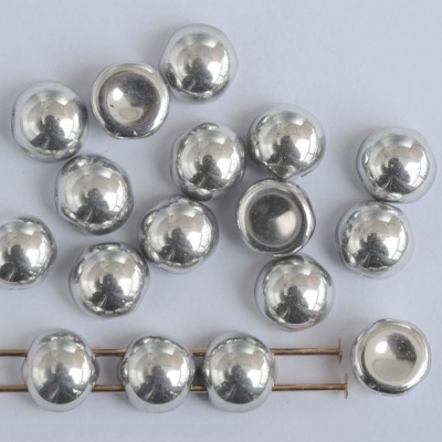 Cabochon 6mm 2 Hole Silver Crystal Labrador Full 00030-27000 Czech Beads x 20