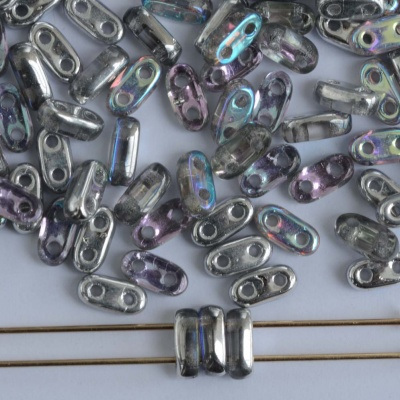 Shim 2 Hole Silver Crystal Silver Rainbow 00030-98530 Czech Glass Bead x 5g