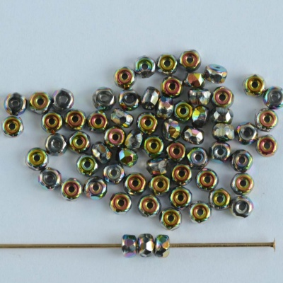 Micro Spacer Rondelle Silver Crystal Vitrail Full 00030-28100 Czech Beads x 50