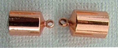 Copper Plated End Cap Barrel  6mm  ID x 1pr