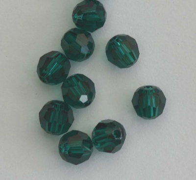 Swarovski Hex Faceted 5000 Green Emerald 3mm 4mm Round Beads