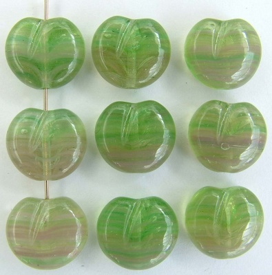 Fruit Flat Green Tea Mauve Mist Apples Hurricane Glass Czech  Beads x 15
