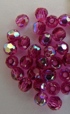 Swarovski Hex Faceted 5000 Pink 3 mm Fuchsia AB 502ab Round Beads