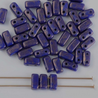 Brick Blue Indigo Moondust 33060 CzechMates Beads x 50