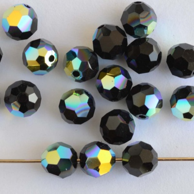 Swarovski Hex Faceted 5000 Black 3 4 6 mm Jet AB 280ab Round Beads