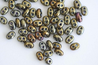 Twin Hole Brown Jet Iris Brown 23980-21415 Czech Glass Beads 2 Hole x 10g