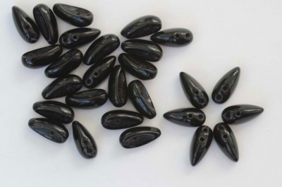 Chilli Black Jet 23980 Czech Glass Bead x 25