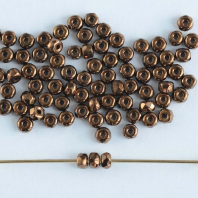 Micro Spacer Rondelle Brown Jet Dark Bronze 23980-14415 Czech Glass Beads x 50