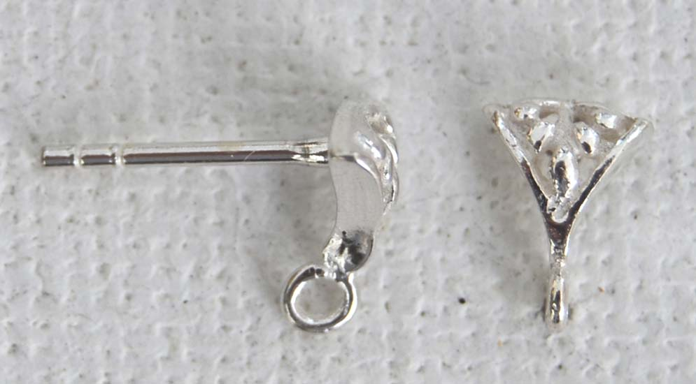 sterling silver earring ear stud tricorn loop x 1pr jewelbeads4