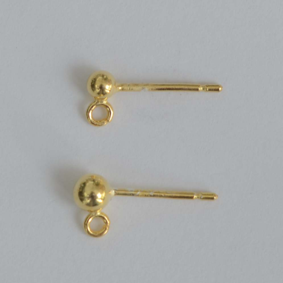 Vermeil Sterling Silver Gold Plated Earring Ear Stud Ball 3 4 Mm
