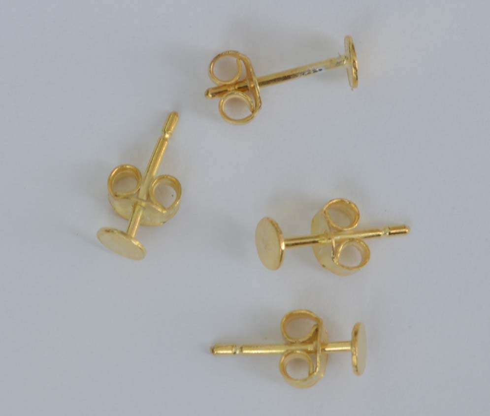 Vermeil Sterling Silver Gold Plated Earring Ear Stud 4mm Pad Glue On