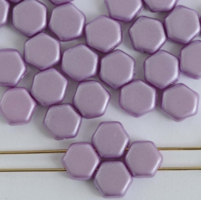 Honeycomb Purple  Alabaster Pastel Lila 02010-25012  Czech Glass Beads x 30
