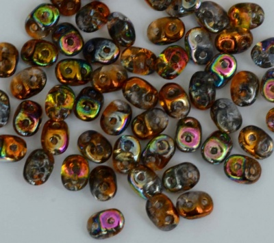 Superduo Orange Crystal Magic Copper - Orange Grey 00030-95300 Czech Beads x10g