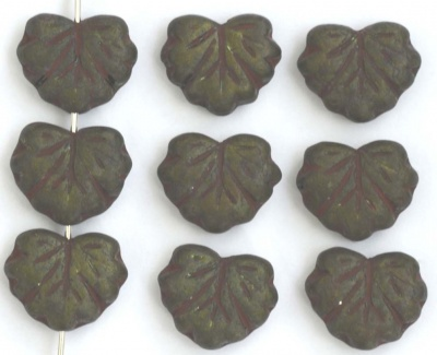 Leaf V Maple Brown Bronze Matt 03370 Czech Glass  Bead Charm x 5