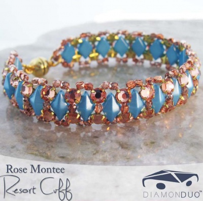 Pattern BeadMaster Montee Resort Bracelet uses DiamonDuo Montees FOC with bead purchase