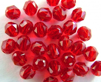 Swarovski Triangular Facets 5025 Red Siam 4mm Oval Beads x 4