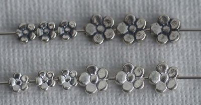 Sterling Silver Bead Flower Shape 5mm 7mm