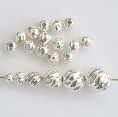 Sterling Silver Bead Round Corrugated Fluted Twisted Large Hole 3 4 5 6 7 8 mm