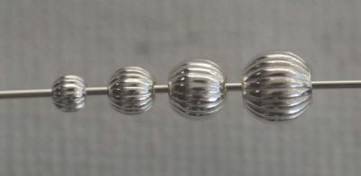 Sterling Silver Bead Round Corrugated Fluted Large Hole  3mm 4mm 5mm 6mm