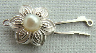 Sterling Silver Clasp Pearl Flower Necklace Fasten 18mm x 1