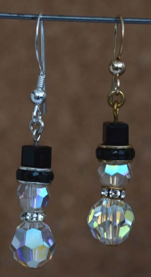 Kit Swarovski Snowman Earring Crystal AB Beads