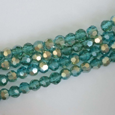 Crystal Faceted Round Green 3mm Transparent Teal n Gold Chinese  Bead x 100