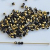 Fire Polished Gold  2 6 mm  Jet Amber 23980-26441 Czech Glass Bead
