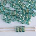 Brick Green Atlantis Blue Lustre Green Zircon 60230-14400 CzechMates Beads x 50