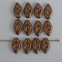 Leaf H 10 mm Brown Bronze Blue 15695 Czech Glass Bead x 25
