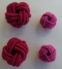 Fabric Chinese Knot Beads Buttons 2 Sizes Cerise Pink