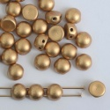 Cabochon 6mm 2 Hole Gold Crystal Matt Aztec Gold 00030-01710 Czech Bead x 20