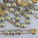 Cabochon 6mm 2 Hole Gold Crystal Golden Rainbow 00030-98536 Czech Glass Bead x20