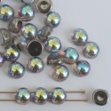 Cabochon 6mm 2 Hole Grey Crystal Graphite Rainbow 00030-98537 Czech Beads x 20