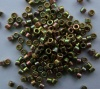 Miyuki Delica DB0508 Green Size 11  24ct Green Gold Iris Plated Bead 2g