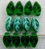 Leaf H 10 12mm Green Emerald AB 50730-28701 Czech Glass Bead Charm x 25