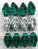 Leaf H 10 mm Green Emerald Silver 50730-27000 Czech Glass Bead x 25