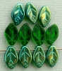 Leaf H 12 mm Green Tr Green AB 50140-28701 Czech Glass Bead Charm x 25