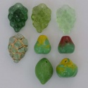 Fruit 3D Green Czech Glass Charm Beads Grapes Apples Pear Lime x 9